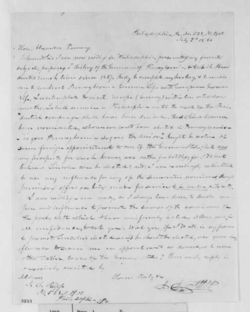 J. D. Rupp to Alexander Ramsey, Monday, July 02, 1860  (Wants job in Lincoln Administration)