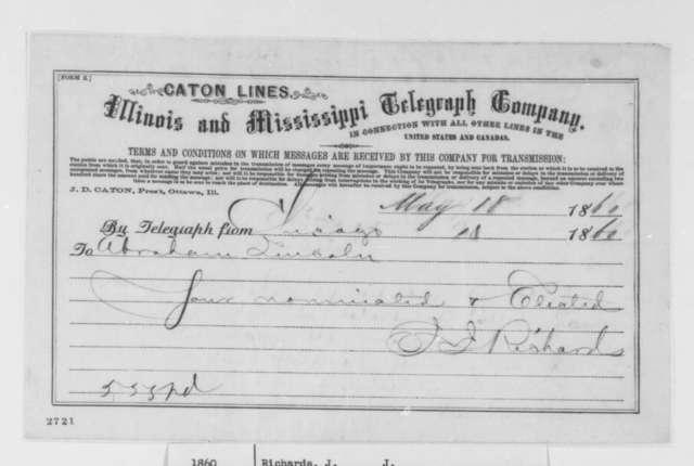 J. J. Richards to Abraham Lincoln, Friday, May 18, 1860  (Telegram concerning Lincoln's nomination)