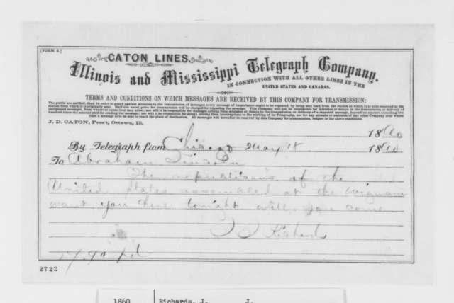 J. J. Richards to Abraham Lincoln, Friday, May 18, 1860  (Telegram, Invitation)