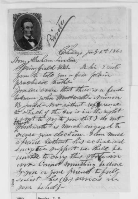 J. P. Brooks to Abraham Lincoln, Monday, July 02, 1860  (John Wentworth)
