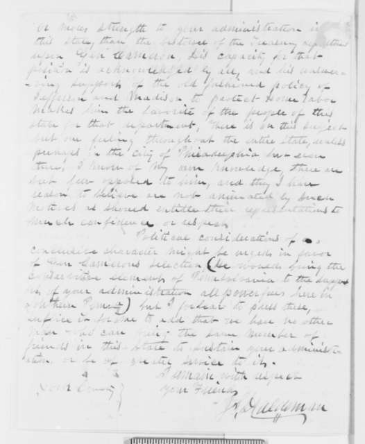 Jacob S. Haldeman to Abraham Lincoln, Friday, December 07, 1860  (Wants Cameron in cabinet)