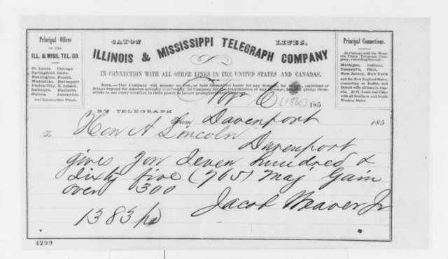 Jacob Weaver Jr. to Abraham Lincoln, Tuesday, November 06, 1860  (Telegram reporting election results)