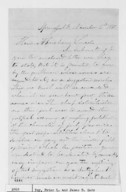James B. Eads and Peter L. Foy to Abraham Lincoln, Friday, November 02, 1860  (Present letter recommending Bates for Secretary of State)