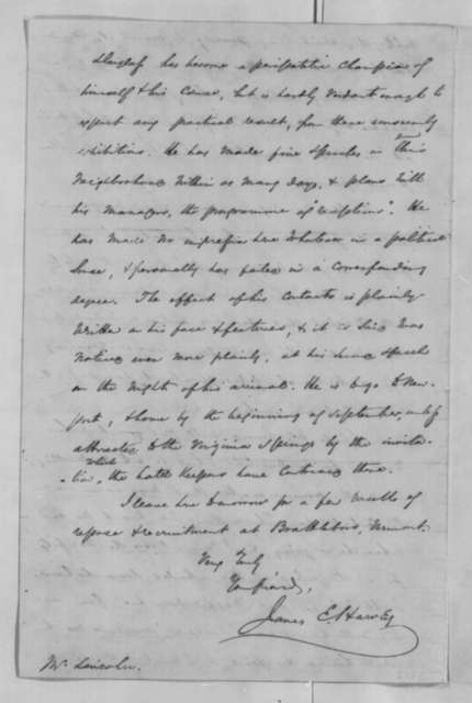 James E. Harvey to Abraham Lincoln, Friday, July 27, 1860  (New York political developments)