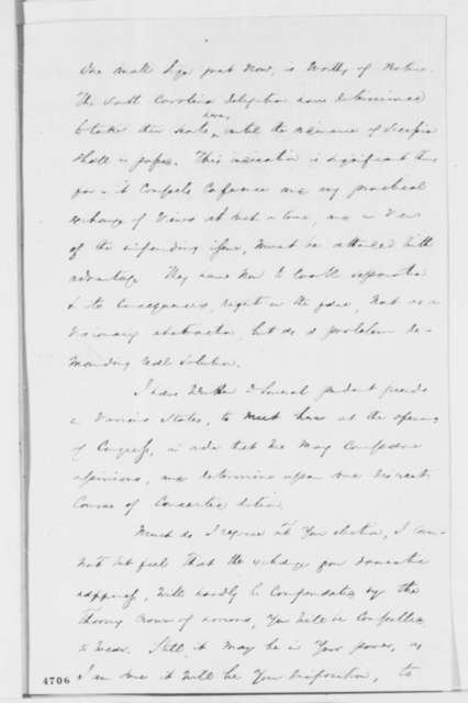 James E. Harvey to Abraham Lincoln, Thursday, November 29, 1860  (Buchanan's cabinet and secession)