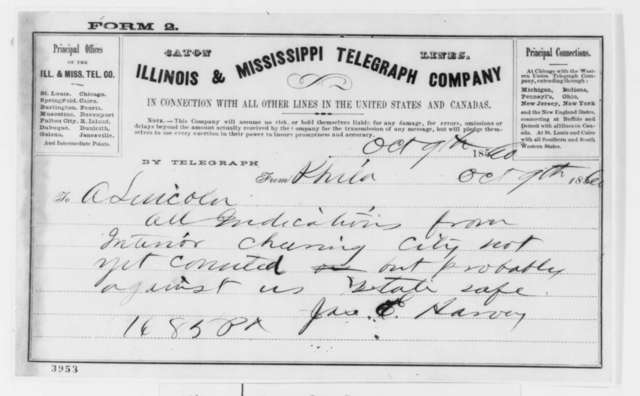James E. Harvey to Abraham Lincoln, Tuesday, October 09, 1860  (Telegram reporting Pennsylvania election returns)