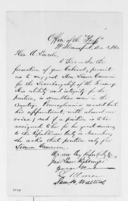 James L. Rightmyer, et al. to Abraham Lincoln, Monday, December 03, 1860  (Recommendation for Cameron)