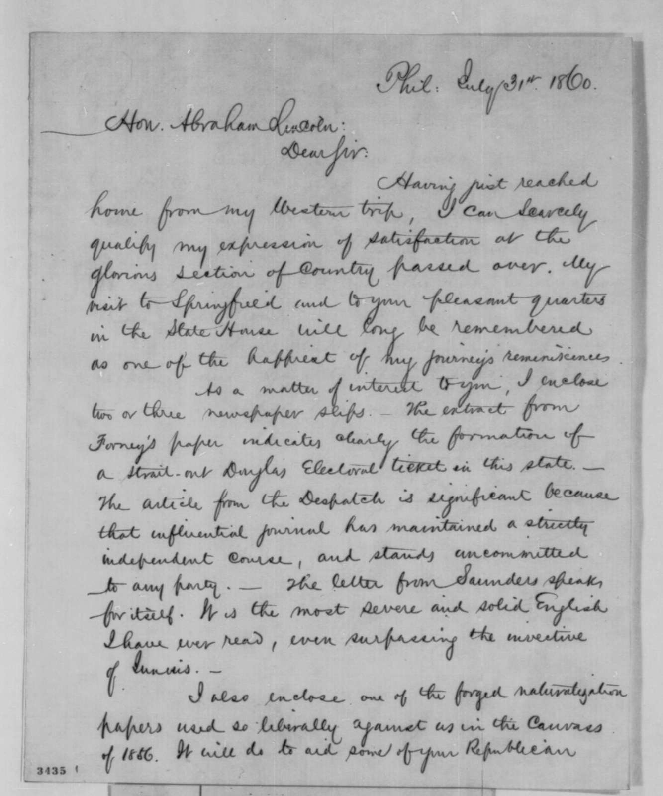 James Lesley Jr. to Abraham Lincoln, Tuesday, July 31, 1860  (Pennsylvania politics)