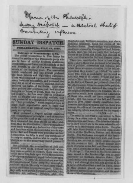 James Lesley Jr. to Abraham Lincoln, Tuesday, July 31, 1860  (Pennsylvania politics)