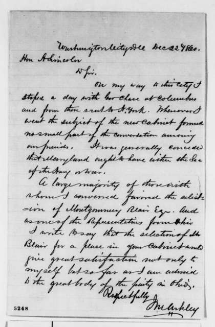 James M. Ashley to Abraham Lincoln, Saturday, December 22, 1860  (Recommends Montgomery Blair)