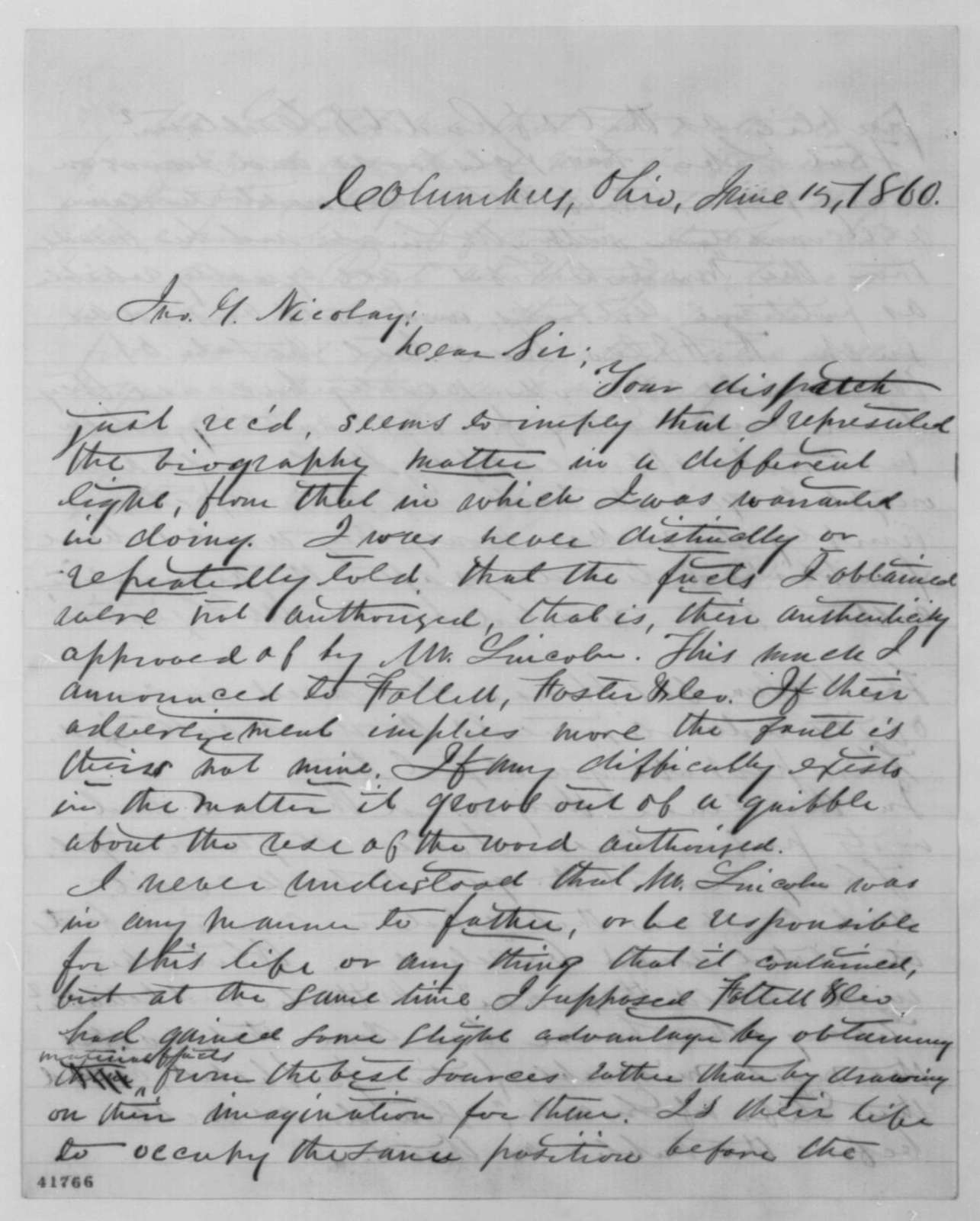 James Q. Howard to John G. Nicolay, Friday, June 15, 1860  (Publication of Lincoln biography)