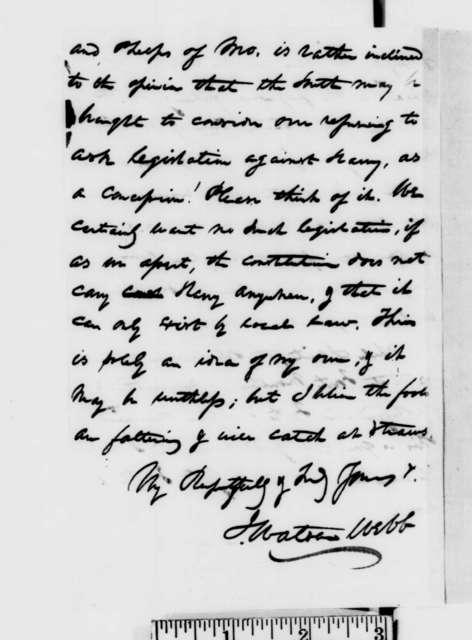 James Watson Webb to Abraham Lincoln, Thursday, December 27, 1860  (Forwards letter)