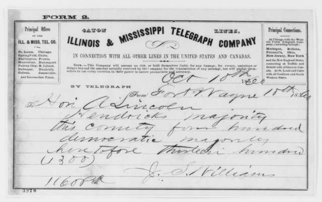 Jesse L. Williams to Abraham Lincoln, Wednesday, October 10, 1860  (Telegram reporting Indiana election results)