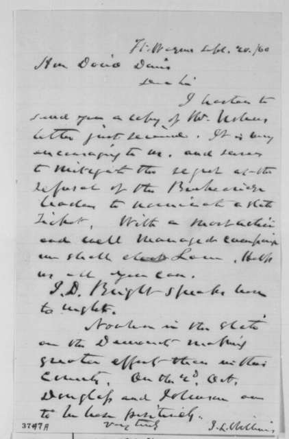 Jesse L. Williams to David Davis, Thursday, September 20, 1860  (Cover letter)