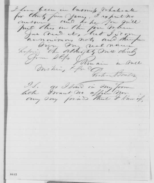 John Benton to Abraham Lincoln, Friday, November 23, 1860  (Cabinet recommendations)