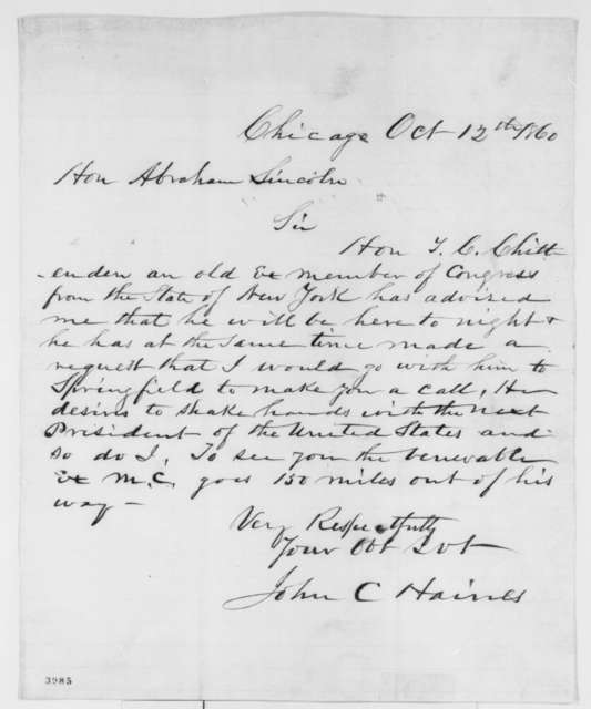 John C. Haines to Abraham Lincoln, Friday, October 12, 1860  (Plans to visit Springfield and meet Lincoln)