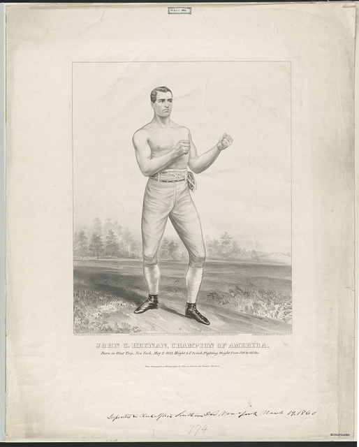 John C. Heenan, champion of America born in West Troy, New York, May 2, 1835, height 6 ft. 1 1/2 inch, fighting weight from 180 to 185 lbs / / from photograph in attitude taken by Gillis & Johnson, 156 Broadway, New York ; lith. by Cameron & Walsh, 32 & 34 John St., N.Y.