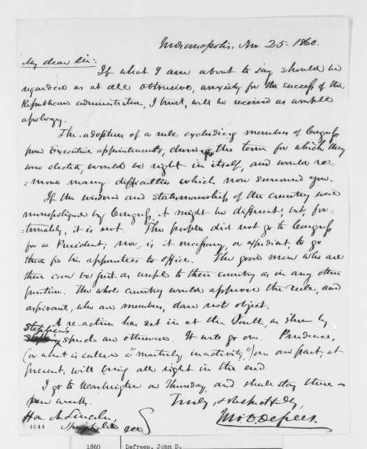 John D. Defrees to Abraham Lincoln, Sunday, November 25, 1860  (Wants to prohibit members of Congress from accepting patronage positions)