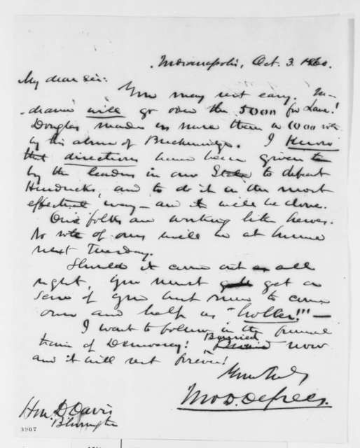 John D. Defrees to David Davis, Wednesday, October 03, 1860  (Indiana politics)