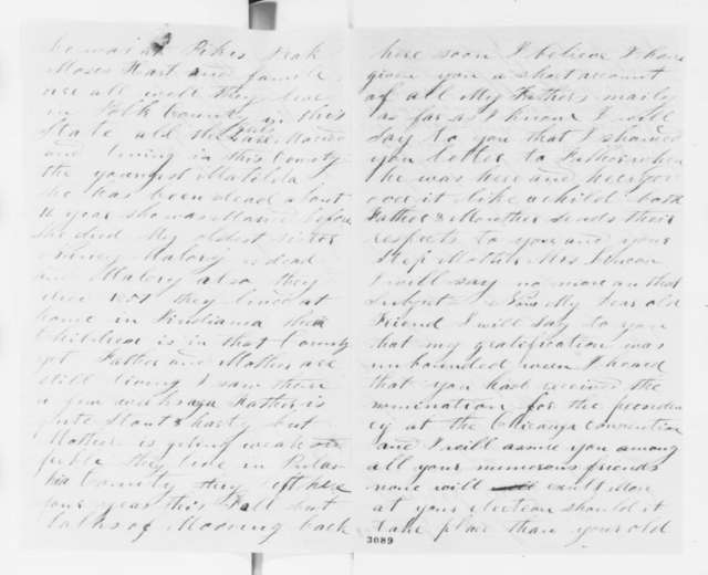 John Gorden to Abraham Lincoln, Friday, June 15, 1860  (Gives his family history)