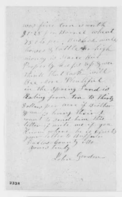 John Gorden to Abraham Lincoln, Tuesday, February 07, 1860