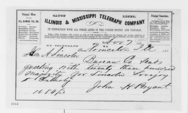 John H. Bryant to Abraham Lincoln, Wednesday, November 07, 1860  (Telegram reporting election results)