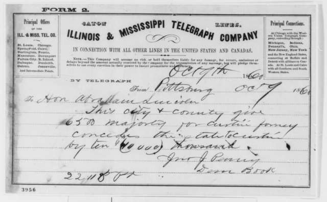 John J. Penny to Abraham Lincoln, Tuesday, October 09, 1860  (Telegram reporting Pennsylvania election returns)