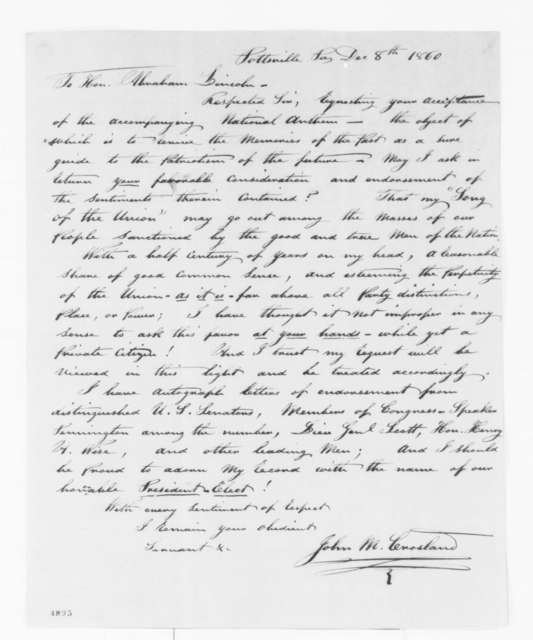 "John M. Crosland to Abraham Lincoln, Saturday, December 08, 1860  (Sends ""Song of the Union"")"