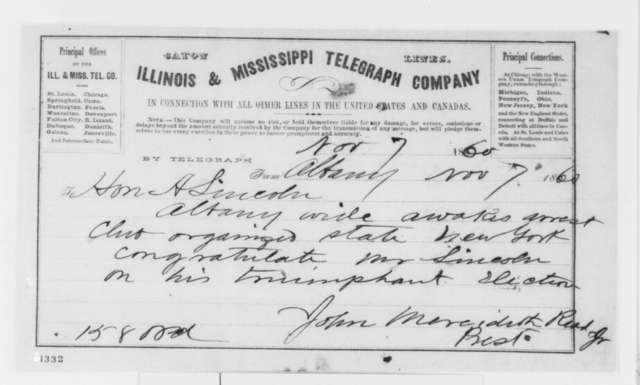 John M. Read Jr. to Abraham Lincoln, Wednesday, November 07, 1860  (Telegram of congratulations)