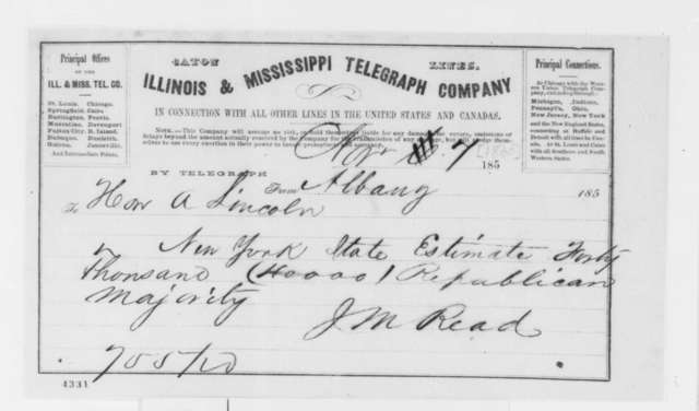 John M. Read to Abraham Lincoln, Wednesday, November 07, 1860  (Telegram reporting election results)
