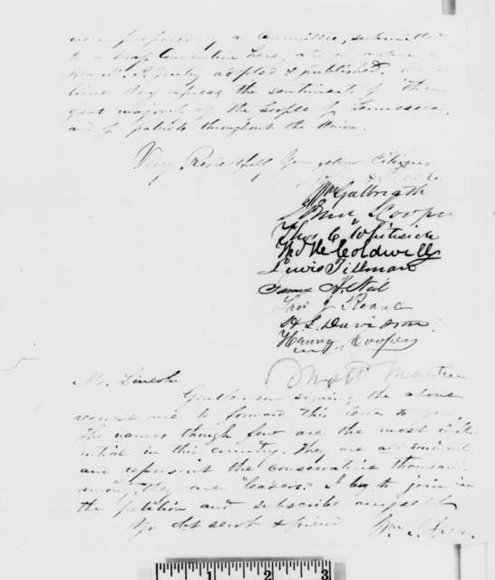 John P. Steele,  et al. to Abraham Lincoln, Saturday, December 29, 1860  (Recommend Meredith Gentry for cabinet)