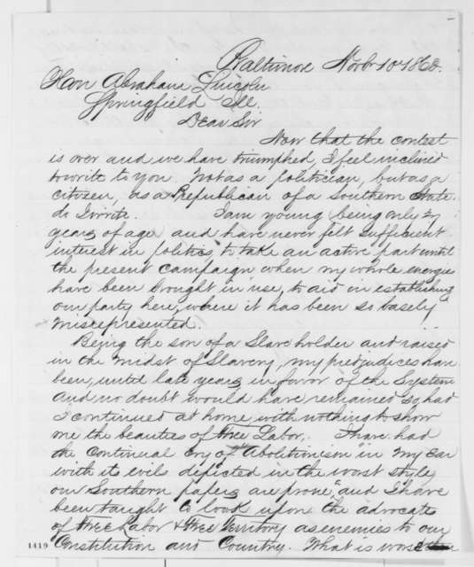 John T. Graham to Abraham Lincoln, Saturday, November 10, 1860  (Maryland Republican opposes Henry Winter Davis)