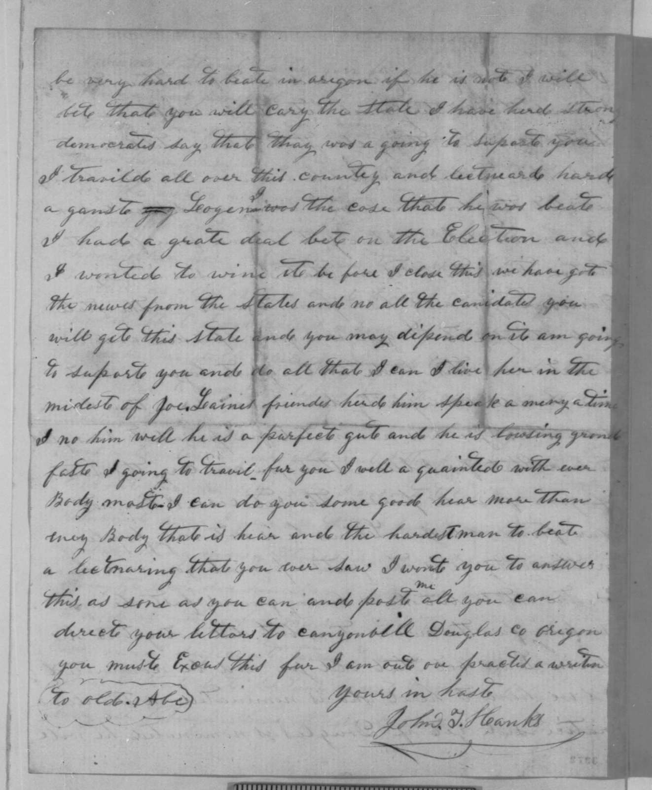 John T. Hanks to Abraham Lincoln, Sunday, July 22, 1860  (Wants advice on how to conduct personal affairs)