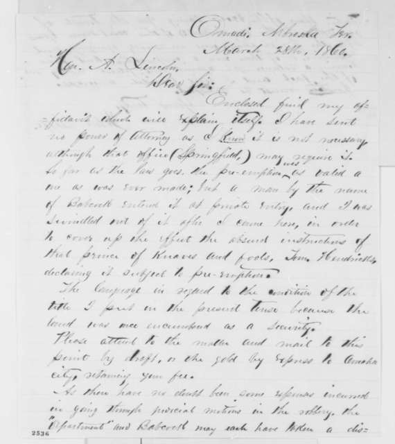 John Taffe to Abraham Lincoln, Wednesday, March 28, 1860  (Legal matters)