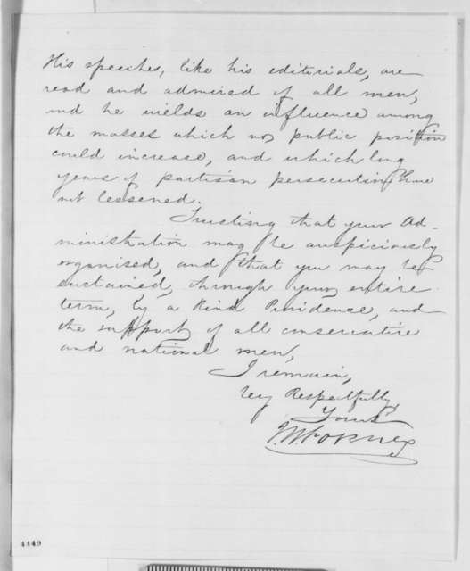 John W. Forney to Abraham Lincoln, Monday, November 12, 1860  (Horace Greeley)