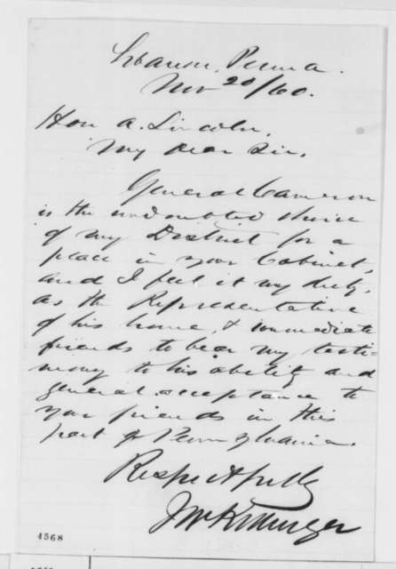 John W. Killinger to Abraham Lincoln, Tuesday, November 20, 1860  (Recommends Cameron for cabinet)