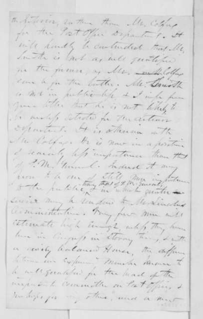 John Z. Goodrich to A. H. Conner, Monday, December 03, 1860  (Recommends Caleb Smith for cabinet over Colfax)