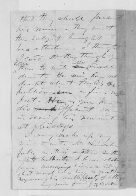 John Z. Goodrich to David Davis, Friday, November 23, 1860  (Congratulations, endorsement for David Dudley Field)