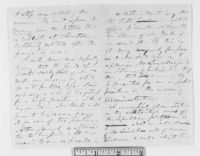John Z. Goodrich to Ebenezer Peck and Norman B. Judd, Saturday, November 24, 1860  (Endorsement of David Dudley Field for a position)