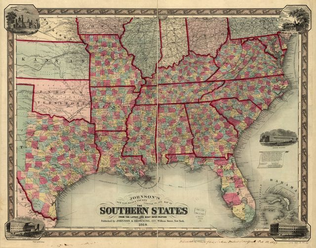 Johnson's new railroad & county copper plate map of the southern states from the latest and best information.