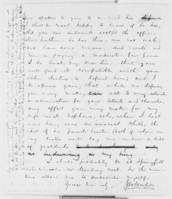 Jonathan W. Gordon to Abraham Lincoln, Thursday, March 15, 1860  (Request for services)