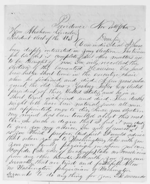 Joseph L. Bennett to Abraham Lincoln, Saturday, November 10, 1860  (Trust no one in Washington)