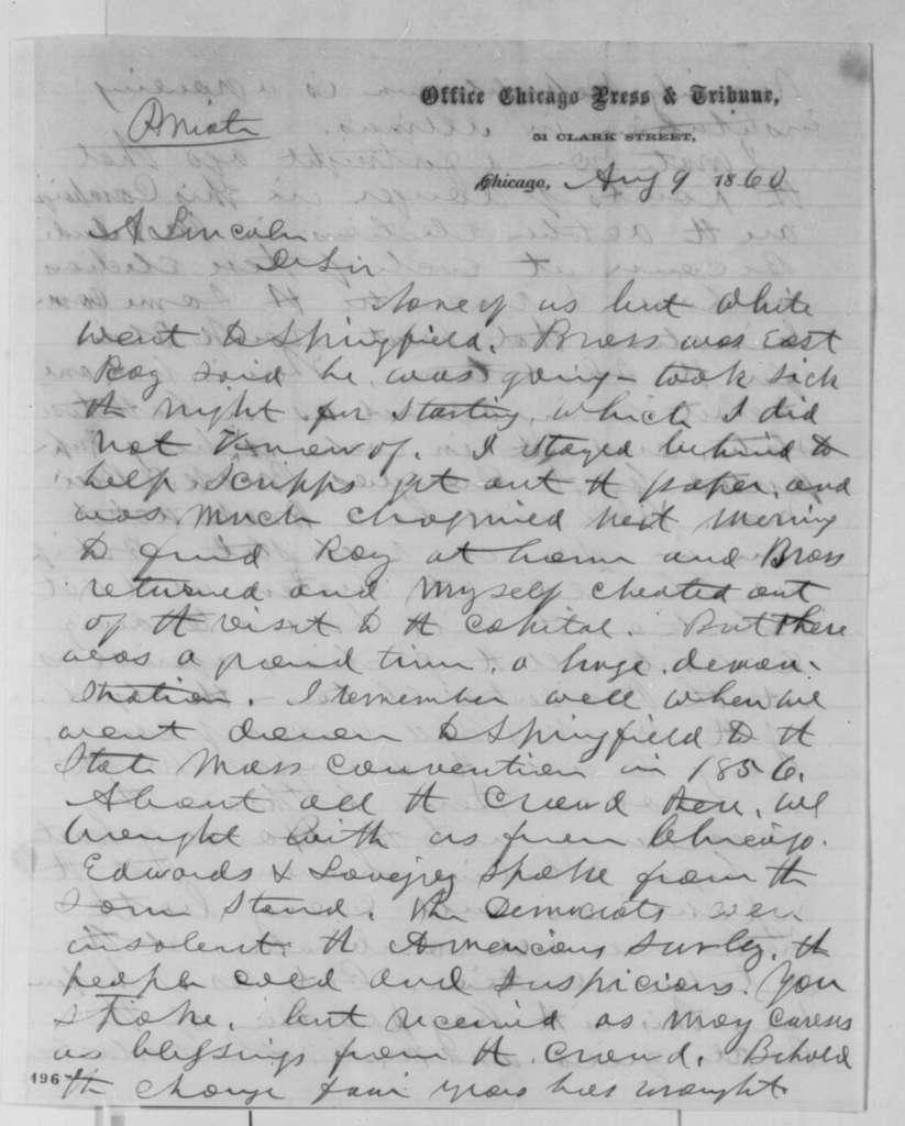 Joseph Medill to Abraham Lincoln, Thursday, August 09, 1860  (Political affairs)