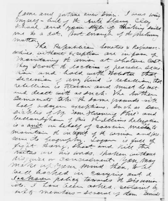 Joseph Medill to Abraham Lincoln, Tuesday, December 18, 1860  (Report from Washington on cabinet appointments and crisis with South)