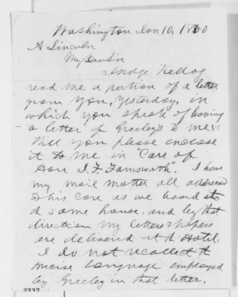 Joseph Medill to Abraham Lincoln, Tuesday, January 10, 1860