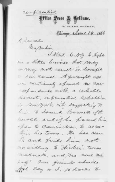 Joseph Medill to Abraham Lincoln, Tuesday, June 19, 1860  (Meeting with James G. Bennett of New York Herald)