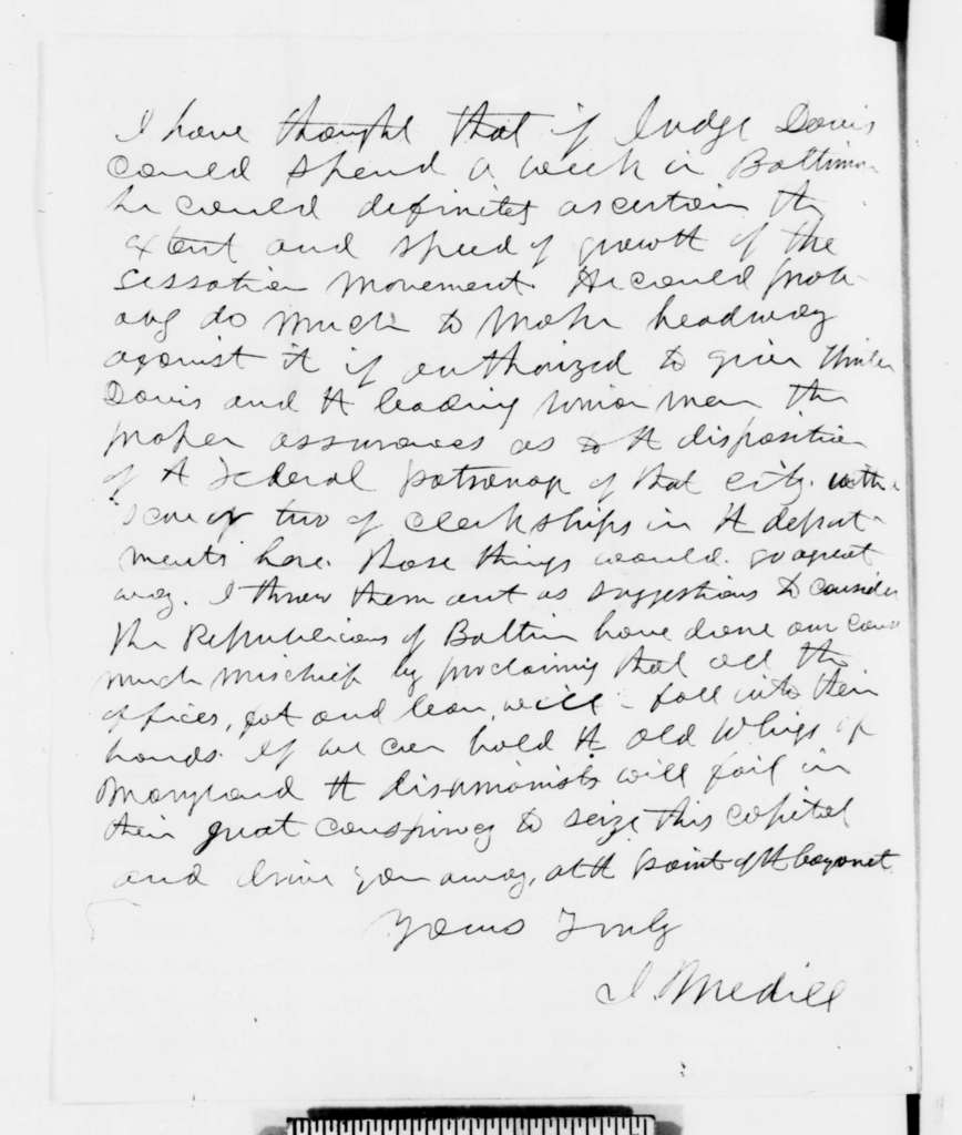 Joseph Medill to Abraham Lincoln, Wednesday, December 26, 1860  (Secessionist plots against Lincoln in Washington)