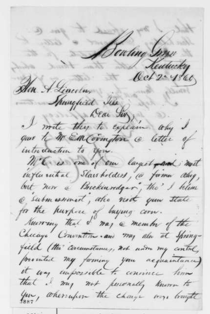 Joseph W. Calvert to Abraham Lincoln, Tuesday, October 02, 1860  (Introduction)