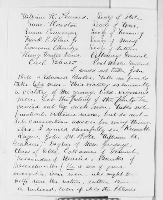Josiah H. Drummond to Leonard Swett, Friday, December 07, 1860  (Cabinet and political advice)