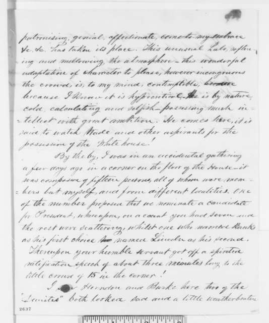 Josiah M. Lucas to Abraham Lincoln, Sunday, May 06, 1860  (Washington news)